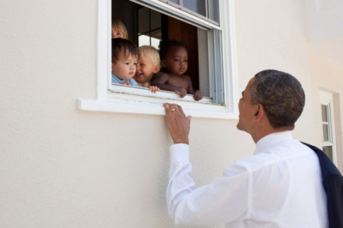 cheatsheet:   President Obama greets kids after daughter Sasha's 4th grade graduation.  Too adorable. via  I can't help it! Presidents and babies!