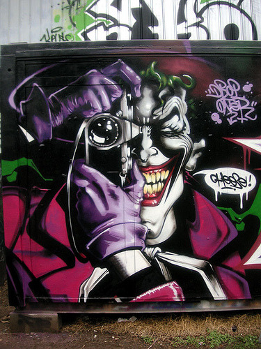 Daily Graffiti: Fresh-to-death Joker graffiti by DROP HPC-ANC straight from the cover of The Killing Joke aka one of the greatest Batman stories of all time. (Check out the Daily Graffiti Archives for more geektastic street art!)