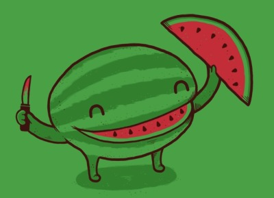 threadless:  Happy Summer! Grab some watermelon and A Happy Slice of Life by Aaron Jay to celebrate. - Betsy