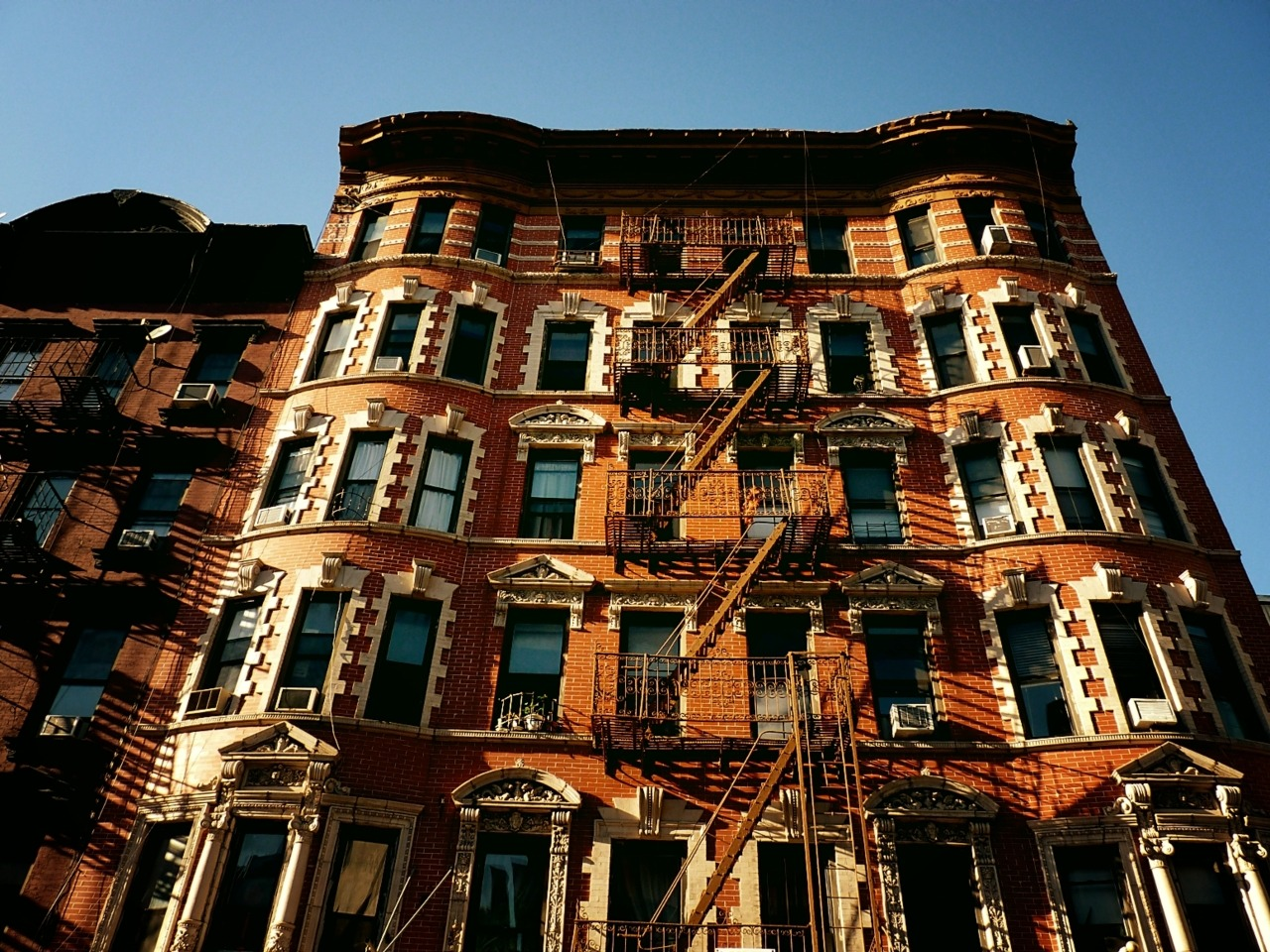 Lower East Side fire escapes and brickwork. New York City.