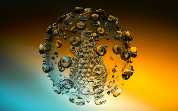 poptech:  HIV virus made of glass by Luke Jerram. (via)