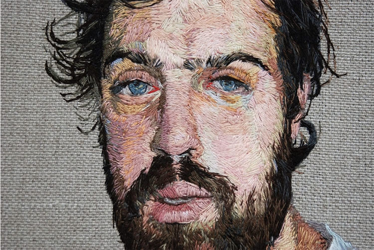 Daniel Kornrumpf creates some amazing portrait embroidery, with a sewing style that closely resembles brush strokes. (via Scene360)
