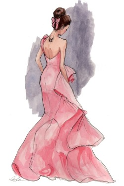 oscarprgirl:  illustration by Inslee Haynes.  We posted the original photo a long time ago, but the drawing brings back the fond memories of our dream prom dress by Oscar.