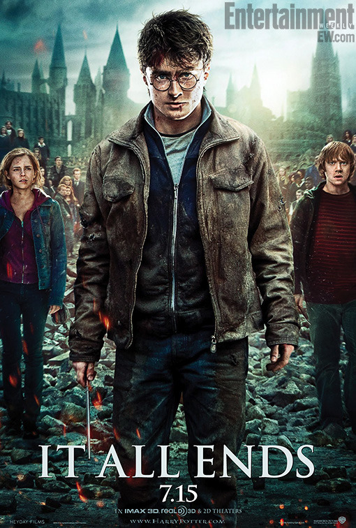 NEW Harry Potter and The Deathly Hallows: Part 2 Poster featuring Harry, Ron & Hermione at Hogwarts