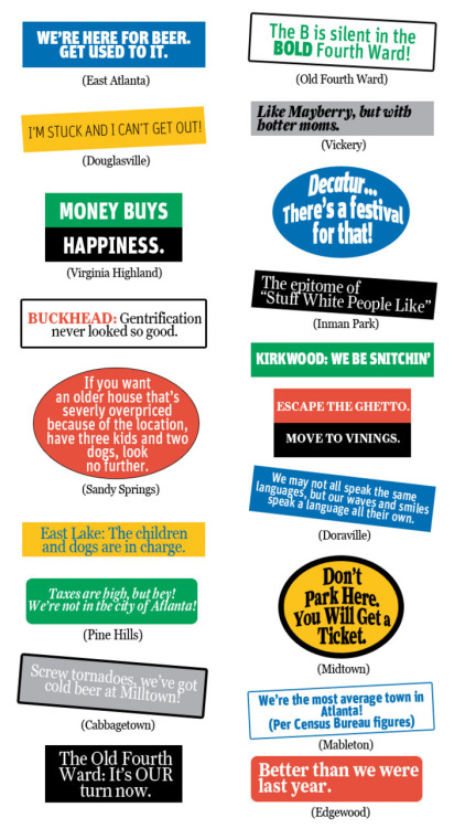 Bumper Stickers For our June 2011 neighborhoods package, we asked our readers to propose bumper stickers for their 'hoods. Here are the most colorful submissions, illustrated. Propose your own in our comments section!