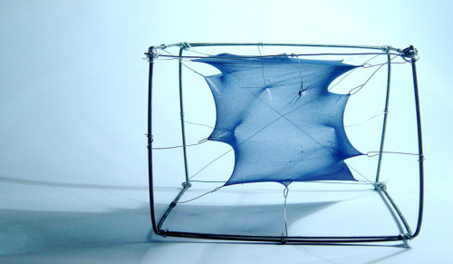 062///2005 Experimental shelter model (with I.A. + D.G. + P.S.) [tights, wire & threaded rod]