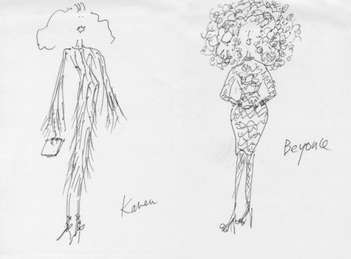 Grace Coddington's sketches of Tom Ford Spring 2011
