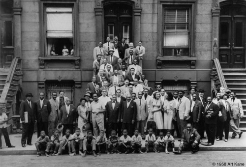 "awesomepeoplehangingouttogether:  ""A Great Day in Harlem"": A lot of famous jazz musicians, including Count Basie, Art Blakey, Art Farmer, Dizzy Gillespie, Benny Golson, Coleman Hawkins, Gene Krupa, Charles Mingus, Thelonious Monk, Gerry Mulligan, Oscar Pettiford, Sonny Rollins, Jimmy Rushing, Horace Silver, and Lester Young (submitted by Bernie)  One of my favorite photos ever."