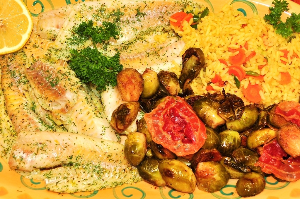Mmm…baked fish in lemon and dill