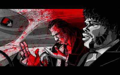 ianbrooks:  Pulp Fiction by César Moreno Well believe it now, motherfucker! We gotta get this car off the road! You know cops tend to notice shit like you're driving a car drenched in fucking blood. (via: heyoscarwilde)