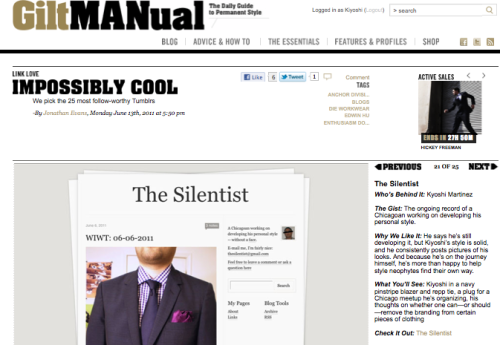 "GiltManual's ""Impossibly Cool: 25 most follow-worthy Tumblrs"" — I want to give a ""thank you"" to Jonathan Evans at GiltManual for including me on this list with some other really great bloggers. I totally didn't expect this at all and it's quite a shock. To be complimented not only on my style but also the content I'm posting definitely makes my day (heck, week, month!)"