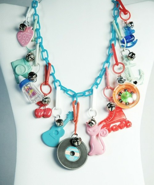 retro plastic charm necklace… cute