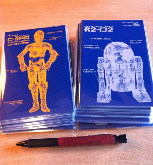 C-3PO and R2D2 postcards now available over at my ETSY shop! $10.00 for a ten-pack! That's one dollar a card! That's REASONABLE!  Go grab some, pleeeease!