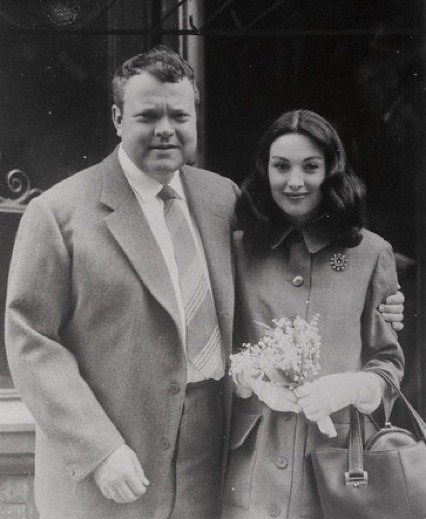 Orson Welles and his third wife, Paola Mori, on their wedding day. [1955]