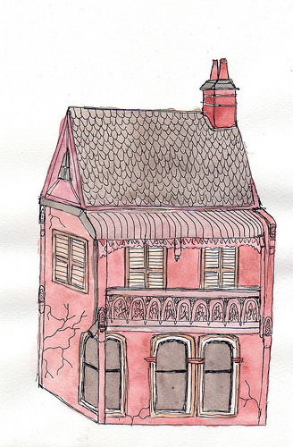 cutedrawings:  pink house (by cups of tea)