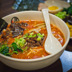 "Tantan-Men Ramen from Halu Ramen, 375 Saratoga Avenue, San Jose, CA 95129. Broth made with roasted white sesame seeds ""Chi-ma-jyan"" and ""Ra-yu"" spicy oil made from 10 kinds of spices, combined with rich pork-based soup, original chewy thick noodles, topped with ""Niku miso"" made from ground pork, Tenmen-jan from Hacho miso, spices, Memma/seasoned bamboo shoots, Ho-rensou/spinach, Kikurage/ear mushrooms, Negi/green onion, Nori/seaweed and Tokyo negi."