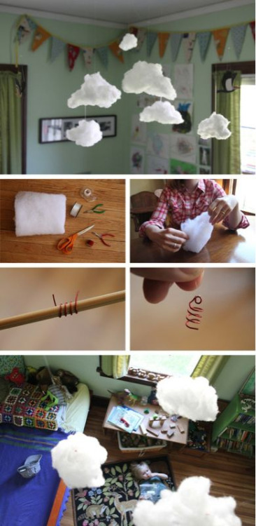 momjunk:  DIY room clouds… the kids will love this!