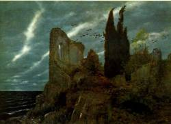fletchingarrows:  thinreflectionsspin:  ruins by the sea, arnold bocklin, 1880  tempestuous solitude