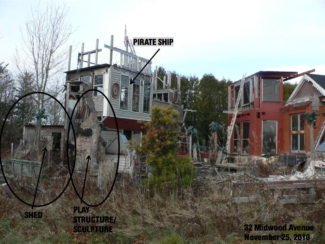 "Saint John to sink backyard 'pirate ship'A three-storey-high pirate ship constructed out of old wood, window panes and scrap metal, it has two floors and a roof, wood panels jutting out from its sides and a number of ""trees"" made from rubber foliage atop wood beams. Seven years in the making, Rodney McGrath's ""enchanted kingdom"" is anchored in the backyard behind his Saint John home.It's ""beautiful,"" Mr. McGrath said, and it only truly comes alive in the mornings, when the sun first hits it.Several of his neighbours on Midwood Avenue disagree. They lodged complaints with the city, saying the pirate ship is not just ugly, but a hazard. They worry it is bringing down property values on their street.After two years of battles between Mr. McGrath and the city over the playhouse, officials will arrive at his home Wednesday with two contractors in tow. They will estimate the cost of demolition, after which the pirate ship will be torn down and Mr. McGrath billed."
