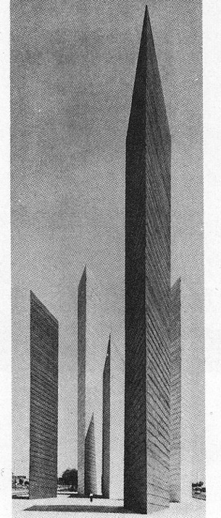 betonbabe:  BARRAGÁN AND GOERITZTHE TOWERS OF SATELLITE CITY / MEXICO CITY, 1957