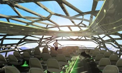 "abcworldnews:  Plane of the Future: Airbus Reveals What Air Travel Will Look Like in 2050; The Cabin Will Offer Panoramic Views  The Guardian:    A futuristic concept of air travel in which passengers will be able to gaze up at sunny or starry skies through a transparent cabin has been presented by planemaker Airbus . The concept cabin for travellers in 2050 would be a bionic structure that mimics the efficiency of bird bone. It would provide strength where needed, and also allows for an ""intelligent"" cabin wall membrane which controls air temperature and can become transparent to give passengers open, panoramic views. The cabin would have seats that fit passengers' body shapes and travellers might be able to read bedtime stories to their children back home, Airbus said.  Photo Credit: The cabin of the future designed by Airbus Photograph: Airbus/PA"