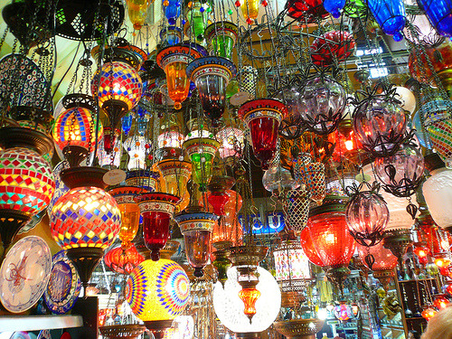 Glass lights and lanterns at the Grand Bazaar, Istanbul, Turkey (by nicolaonthepull)
