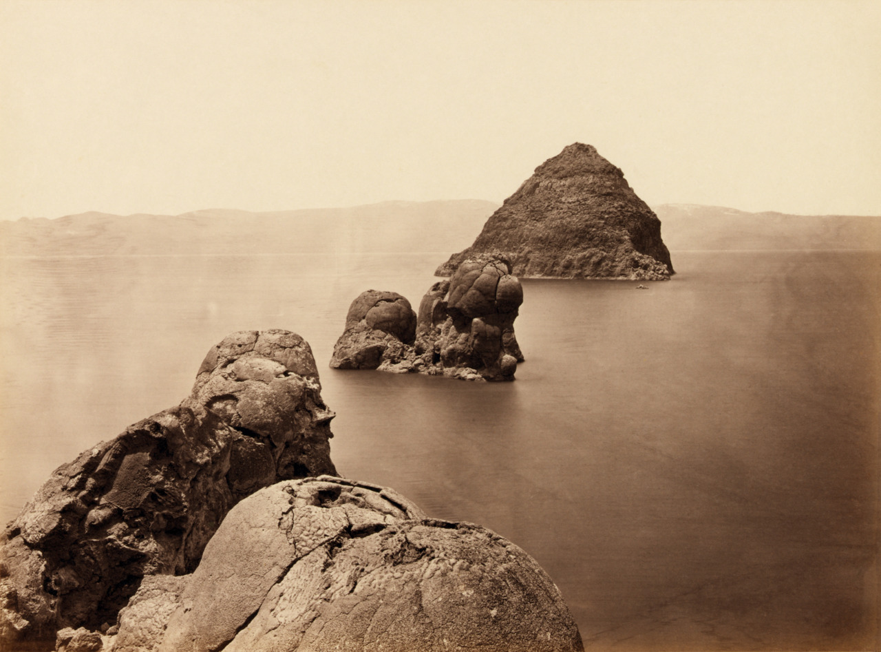 The Pyramid and Domes, Pyramid Lake, Nevada, 1867. by Timothy O'Sullivan
