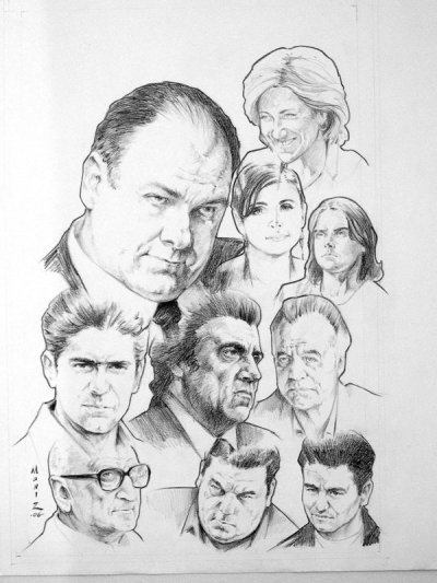 "How I tried (and failed) to bring THE SOPRANOS to comics. So years ago, before the days of Mrs Sodablog and our little soda kids, long before I had the fame and fortune you'd expect from a man like me, my roommates and I were addicted to HBO.  Like, seriously make sure we're home on Sunday night, don't spoil it or I'll kill you hardcore addicted. OZ, SOPRANOS, ENTOURAGE, DEADWOOD, CURB—we watched it all (well, we didn't watch SEX IN THE CITY, nor did we partake in ROME…but then, no one partook in ROME). And one night, drunk and engorged on quality storyline (and also? Hamburgers), my roommate turned my way and asked why the hell I didn't do a SOPRANOS comic. Now, sure— I spent hours explaining licensing and creative control, I opined on how David Chase and his minions would do it if no one else did, and how they wouldn't let a guy with one mob-based book to his name steer the fate of a cash cow like THE SOPRANOS and on and on… But in the back of my mind, I thought: why not? I know some folks who would dig this, I know some artists that would jump at the chance. Why not reach out to a few publishers and see if they'd bite at securing the license to do a series of comics set in the magical world of North New Jersey focused on some of the secondary characters and perhaps stories based before the series? Then it got a bit more interesting: my roommate had a connection at HBO. Reaching out to gauge interest, we learned that HBO would take a proposal depending on cost and publisher consideration. They'd hear our ideas, but if we didn't have a proven, successful publisher behind us, we were shit out of luck. So while my roommate drafted a business/marketing plan for HBO, I sat down and hammered out a proposal and short script over the course of three days. My idea was to put together a piece based on Benny Fazio—as played by Max Casella, or as many of you might know him, the guy that played Vinnie on DOOGIE HOWSER, MD—and get five pages assembled to show to publishers and HBO. My pal Vito Delsante hooked me up with rising artist at the time, Jim Muniz, and Jim knocked out a few pages (which for god knows what reason I can't find in my files—the above group shot was culled from Jim's DeviantArt gallery.  Every publisher I approached seemed interested… But there were holdups: Speakeasy, still in business at the time, controlled the rights to several HBO shows and nobody could figure out if THE SOPRANOS was actually part of the package.  The few publishers I spoke with were gung ho about doing the comic, but the licensing agreement/fees weren't ideal for the publisher to turn a workable profit.  Finally, HBO strongly suggested they wanted to keep the property in house and as HBO is a division of Time-Warner, they made it quite clear that the only publisher they'd consider working with was DC Comics, another Time-Warner division.  Wildstorm had not yet jumped into the licensed comic book market—they were still focused on their shared superhero universe, so it didn't enter my mind to reach out to them. The only person I could think to approach with this product at DC was a Vertigo editorial contact who, after mulling it over for a bit, explained this wasn't a project Vertigo could consider at the time. That basically stalled any forward momentum we had, which is a shame, because I think given the right support it would have done gangbusters. BUT whaddyagonna do, right? In any event, while I can't locate the art Jim created for this, I though you might get a kick out of the script. It's also pretty clear that this sample was written before the show ended…but in any event, enjoy! SOPRANOS SAMPLE SCRIPTBy Neil Kleid based on characters created by David Chase and owned by HBOPage 1 (4 PANELS)PANEL ONEEST. SHOT- OOH-FA PIZZA PARLOR - DAYMedium angle shot of the store. Brisk Fall day, leaves falling from trees onto cars parked alongside the store. A somewhat beaten Dodge is parked in the front and in our extreme foreground is an SUV. The store has a large window that looks out onto the avenue and in it we can see the silhouettes of two men – one, small and slight, the second large and imposing. SAL (OP): BENNY! GEEZ! LOOK AT THIS GUY!SAL (OP):  LET ME COME AROUND AND SAY HELLO.PANEL TWOINT. SHOT- OOH-FA PIZZA PARLOR - DAYThe pizza parlor is empty, decorated in reds and greens and festooned with Italian flags. Ooh Fa's seen better days. The tables are filthy and a sullen looking kid sweeps up in the back. In the foreground, SAL, the portly owner in apron whites and a v-neck t-shirt, embraces BENNY FAZIO in front of the main counter. Benny is in an expensive sports jacket and slacks. Standing near them is the large man from the first panel, BOBBY 'BACALA' BACCALIERI, clad in a windbreaker and jogging suit.BENNY:  LONG TIME, SAL. HOW'S THE BUSINESS?SAL:  GOOD DAYS AND BAD, KID. AIN'T THE SAME SINCE YOU STOPPED COMING 'ROUND.BENNY:  BLAME CHRIS. GUY GETS HIS WINGS AND IT'S STEAK AND LOBSTER ALL THE TIME.PANEL THREESal turns back to the counter and ovens while Benny and Bobby sit, Benny putting a pack of smokes on the table.SAL:  BOBBY, COME STAI?  HOW'S THE KIDS?BOBBY:  GOOD. SOPHIA'S STARTS SCHOOL NEXT WEEK.SAL:  WHAT CAN I GET YOU? MUSHROOMS AND PEPPERS? COUPLA FANTAS?BOBBY:   PERFECT, SAL. THANKS.PANEL FOURTwo shot of Bobby and Benny, sitting at the table. Benny smirks and looks for matches or a lighter in his jacket.BENNY:  WE COULDN'T MEET AT A GOOD PLACE?  I MEAN I LOVE SAL, BOBBY, BUT WE NEVER USED TO COME AROUND HERE FOR THE FOOD.BOBBY: I WANNA TALK AWAY FROM PRYIN' EYES AND EARS.Page 2 (5 PANELS)PANEL ONEEXT. OOH-FA – DAYShot of the three men as seen through the store window. A young couple walks by, huddled against the cold. A gang of African American kids (three) walks by, ribbing each other on their way to a nearby car.BOBBY:  Y'KNOW, YOU WERE TONY'S GO TO GUY UNTIL YOU GOT YOUR BUTTON LAST WINTER.  BENNY:  YEAH? SO?BOBBY:  BEFORE THAT, I WAS JUNIOR'S GO TO GUY. YEARS I WIPED HIS ASS, WAITIN' FOR TONY TO LOOK MY WAY. ONE THING I LEARNED FROM JUNIOR – WHEN THINGS GET HOT, YOU GET COLD. PANEL TWOBenny looks down at his inner pocket, wondering where his lighter is. BOBBY(OP):  GO TO GUYS THINK THEY CAN PULL COWBOY SHIT AND BECAUSE OF THEIR RELATIONSHIP WITH THE BOSS THEY'LL GET A PASS. BUT I NEVER DID.BOBBY (OP):  YOU, CHRIS, TONY B. I WATCHED YOU ALL PUT YOURSELF FIRST AND LOYALTIES SECOND.PANEL THREEBobby reaches across to help Benny out with his own lighter.BENNY:  I'M LOYAL. AND ALL DUE RESPECT, BOBBY, LIKE YOU'RE JOE PERFECT?BOBBY:  I DIDN'T SAY THAT, BUT I'VE SEEN GUYS COME AND GO… SMART GUYS WHO THOUGHT THEY KNEW BETTER. BOBBY:  RICHIE APRILE, TONY B. WHERE ARE THEY FUCKING NOW?PANEL FOURBenny grins and leans back, taking a puff of smoke as Bobby, determined and angry, points down to the table.BENNY:  BERMUDA TRIANGLE.BOBBY:  HEY, I'M SERIOUS HERE! BENNY:  THEN STOP WITH THE PROLOGUE AND TELL ME WHAT YOU WANT.PANEL FIVEClose on Benny's eyes.BOBBY(OP): TORCIANO CALLED ME.BENNY: GERRY TORCIANO? NEW YORK?BOBBY(OP): SAW YOU IN BROOKLYN. IN PHIL LEOTARDO'S NEIGHBORHOOD?Page 3 (5 PANELS)PANEL ONEFLASHBACK – VESUVIO'S PARKING LOT – NIGHTBenny, younger and wearing glasses, is pulled from his car by PHIL LEOTARDO and his cronies.BENNY: SO? IT AIN'T A CRIME TO BE IN BROOKLYN.BOBBY (OP):  BENNY, YOU WERE SEEN NEAR THE ACTING BOSS OF NEW YORK'S HOUSE.PANEL TWOINT. OOH-FA - DAYBenny leans against his chair and looks back at us (or Bobby, whose POV we're at) while smoking.BOBBY (OP):  THE ACTING BOSS WHO BEAT THE SHIT OUT OF YOU.BOBBY (OP):  I GOT TO DRAW YOU A DIAGRAM HOW THIS LOOKS?PANEL THREEFLASHBACK – VESUVIO'S PARKING LOT – NIGHTPhil and gang beat young Benny with a pipe.PANEL FOURINT. OOH-FA - DAYBenny puts the cigarette out on the table.BENNY: YEAH, I GET IT. SO HOW COME I'M NOT HEARING THIS FROM TONY?    BOBBY (OP):  TONY DOESN'T KNOW YET AND I'M NOT GONNA TELL HIM. PANEL FIVEBobby gets up as Sal enters from the kitchen with the pizza.BOBBY:  BUSINESS WITH NEW YORK IS GOOD NOW AND NO ONE WANTS IT FUCKED UP.BOBBY:  YOU GOT A HARD ON FOR PHIL, I GET. BUT YOU GOTTA COOL DOWN BEFORE YOU FUCK THINGS UP. THAT'S WHAT I WANT. TO TELL YOU TO KNOCK OFF THE COWBOY SHIT, ONE GO TO GUY TO ANOTHER.Page 4 (5 PANELS)PANEL ONEBobby drops money on the table next to the smokes.BOBBY:  LIKE I SAID – I WAS A GO TO GUY ONCE. SAME AS YOU, SAME AS CHRIS AND FURIO.BOBBY:  KNOW THE DIFFERENCE BETWEEN YOU AND THOSE OTHER GUYS?PANEL TWOShot of Bobby looking down at Benny, pointing at himself with his thumb. Sal comes up behind him with the pizza.BOBBY:  WHEN THEY PULLED ALL THEIR SHIT I WAS STUCK WIPING JUNIOR'S ASS.BOBBY:  BUT YOU GO NEAR PHIL OR ANYONE ELSE FROM NEW YORK AND I'LL KICK YOURS.PANEL THREEBobby leaves the pizza parlor as Sal sets the pizza down in front of Benny.BOBBY:  THANKS, SAL. JAN'S GOT ME ON THE ATKINS.BOBBY:  THINK ABOUT WHAT I SAID, BENNY. PANEL FOUREXT. OOH-FA'S - DAYBobby exits, heading for his car – the African American kids from page 2 are climbing into theirs.PANEL FIVEBobby looks in their window as he goes by towards his SUV and sees two specific kids – both in hoodies and ""gang"" gear, both pretty young. These are two of the kids who shot Bobby in the eye one late night.Page 5 (5 PANELS)PANEL ONEClose on the kid in the passenger's seat – shotgun side – who's grinning and joking with his friends.PANEL TWOFLASHBACK – PARKING LOT - NIGHTShot of the kid, surrounded by three friends , looking down at us as he points a handgun at us and squints his eyes, about to shoot.BOBBY (OP):  PLEASE! NO! I HAVE A FAMILY! KIDS:  SHOOT THAT FAT FUCK… GO ON, POP 'IM, MAN…KIDS:  LOOK AT 'IM CRY… DO IT…PANEL THREEReverse shot, now looking down at Bobby on the floor, beaten and hurt, one arm reaching towards us begging us not to shoot.BOBBY:  NO! PLEASE! I GOT KIDS!PANEL FOUREXT. OOH-FA'S – DAYBobby is stunned, standing outside the pizza parlor and staring at the kids who shot him and made him feel weak.PANEL FIVEINT. THE GANG'S CAR - DAYOur POV is in the driver's seat, looking past the kid in shotgun and through the window as Bobby races towards them, pointing at them in fury as he reaches for his gun.BOBBY:  HEY! HEY, YOU, YOU PIECE OF SHIT!BOBBY:   GET OVER HERE! GET OUT O' THE CAR!KID:  FUCK YOU WANT, POPPIN' FRESH?Page 6 (5 PANELS)PANEL ONEEXT. THE GANG'S CAR - DAYBobby reaches into the window to grab the kid.KID: MOTHERFUCKER! GO! GO!BOBBY: I SAID GET OUT HERE!PANEL TWOINT. THE GANG'S CAR - DAY Bobby grabs the kid by the throat. The kid is choking but gestures to his driver friend to step on it.BOBBY: YOU REMEMBER ME? YOU REMEMBER THIS FACE, YOU SON OF A BITCH?BOBBY:  YOU SHOT ME! YOU SHOT ME!KID:  **KKK!! I SAID GO, MOTHERFUCKER! DRIVE!PANEL THREEThe car pulls away and Bobby falls, loosing his grip. KID: SO LONG, SUPERSIZE!KID:  YEAH! YEAH, EAT MY FUCKIN' DUST WITH A SIDE OF FRIES!PANEL FOURBobby gets up from the ground slowly, reaching for his pistol again – In the background, Benny comes running out of the pizza parlor.BENNY:  BOBBY! WHAT THE FUCK?BOBBY:  GET YOUR CAR! BENNY:  WHAT HAPPENED TO ""THINGS GET HOT, YOU GET COLD""?BOBBY:  IT'S FUCKING DIFFERENT! GET THE CAR!PANEL FIVEBobby stands and watches the gang's car drive away down the avenue,"