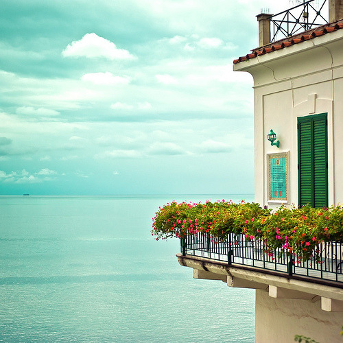 A romantic shot of the sea from a balcony, Amalfi, Italy (by ►CubaGallery)