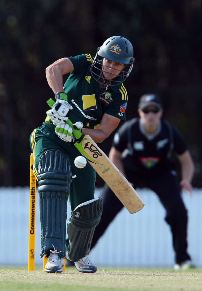 Shelley Nitschke of the Australian women's cricket team against New Zealand. Check out her arms!