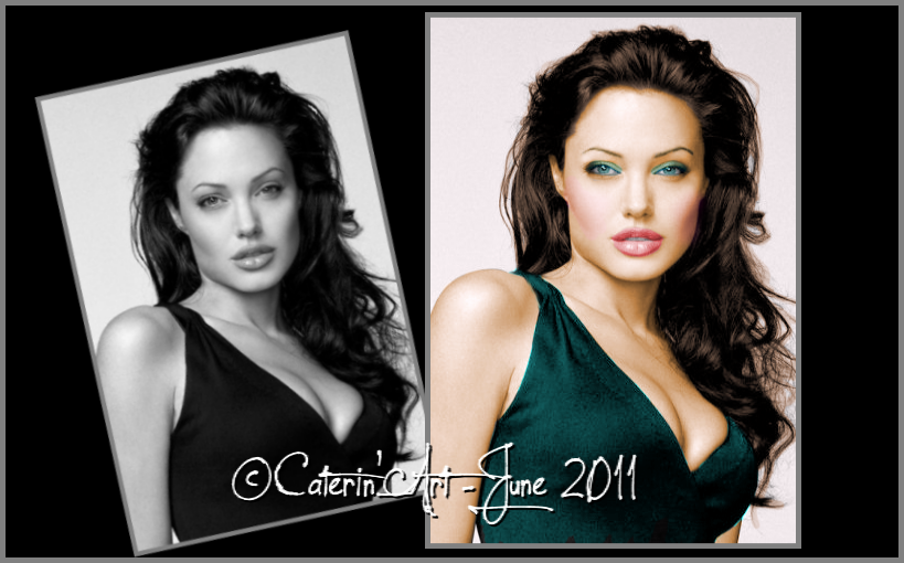 Angelina Jolie…By Caterin…Art  I use Photoshop to make my colorizations.