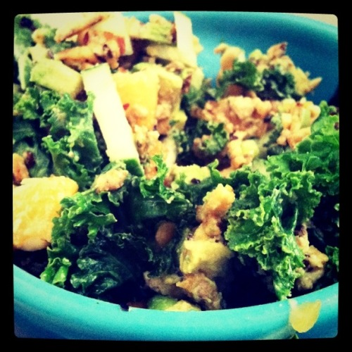 raw kale salad with apricot, cucumber, pine nuts, avocado and tempe (chopped and pan sauteed with olive oil, mirin, paprika, cumin, red pepper and green onion); dressed with tahini and lime juice How to travel through London and Italy without gaining a pound?  Be a vegan.  SO glad to have been to Europe and equally glad to be back in my kitchen.  Thanks to Meaghan for keeping it supplied with produce and for cat watching.