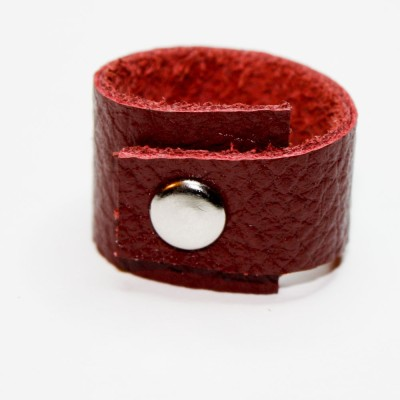 """Crimson"" Leather Ring with Stud by OnceAgainSam"