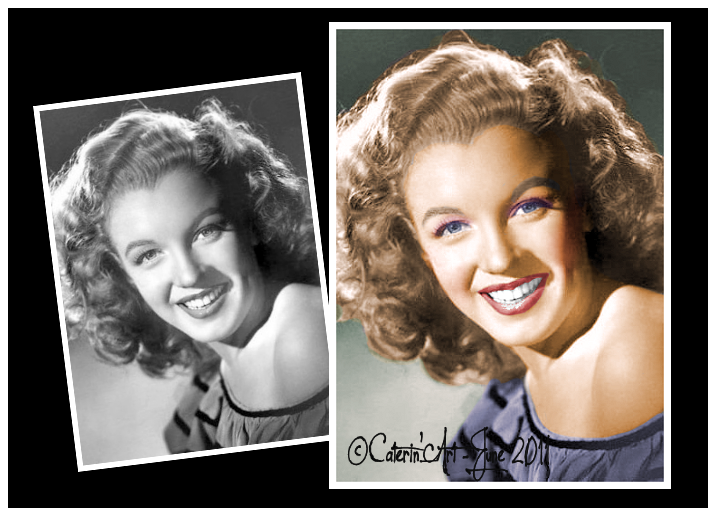 Marilyn Monroe is my muse, she is the reason for my first colorizations, and I just love to bring colors to her beautiful Black And White Sessions… Please don't remove the watermark, and just respect my work, I do it as a tribute to Marilyn.  http://www.facebook.com/pages/CaterinArt/116177331803768