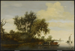 artgalleryofontario:  The Ferry Boat, 1650 Salomon van Ruysdael (Dutch, c. 1602 - 1670) oil on wood, 77.5 x 114.3 cm (30 1/2 x 45 in.) Bequest of W. Redelmeier, 1956