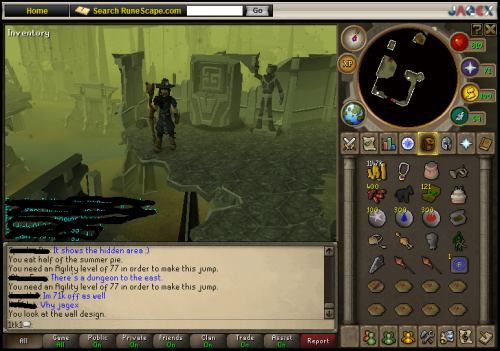 Got on runescape today. A friend of mine told me about a leaked area, which has been speculated to be a ruined city called Kethsi. To go here, use the code DIR on a fairy ring. This will bring you to the Goraks. Go back to Zanaris and use the code AKS, and you should appear here. I don't have 77 agility, and the summer pie wouldn't help, so poor me. :P Also, toys in my inventory! Yay~