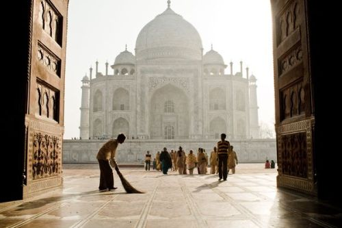 A sweeper outside the Taj Mahal, India