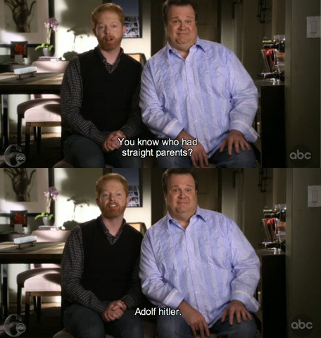 [two caps of Cam and Mitchell from Modern Family with caption. 1: You know who had straight parents? 2: Adolf Hitler.]