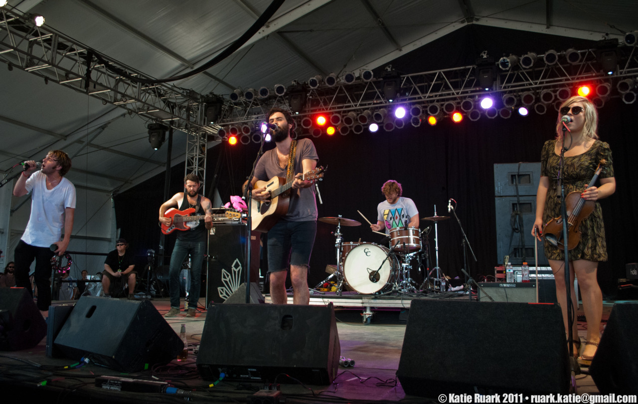 The Head and the Heart at Bonnaroo 2011. If you've never heard of this band, they're sort of like a more mature, folkier Hush Sound. Go check out their website here: http://www.theheadandtheheart.com/ Click through for the rest of the set.