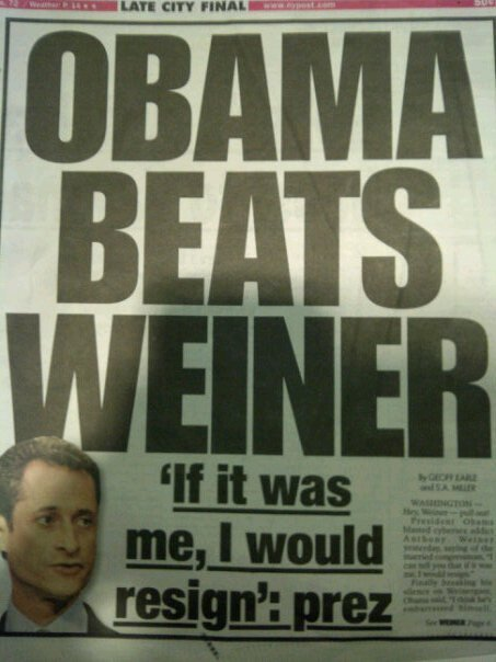 OBAMA BEATS WEINER cover of the new york post.
