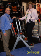 "A Safety Slogan from ASSE's Nancy O'Toole  ""While on a ladder never step back to admire your work.""  Thanks, Little Giant Ladder Systems, for exhibiting at ASSE's Safety 2011!"