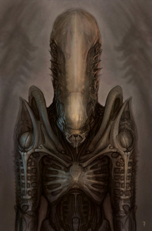 ill-cut-you:  Predalien by belz000 I really do like Xenomorphs and their off shoots. They're sort of like the Borg with the whole assimilation thing though there's a lot more dying when you go the Xenomorph route. They're basically alien bees.  This is a pretty sweet predalien concept. Much more Giger-esque than what we saw on-screen