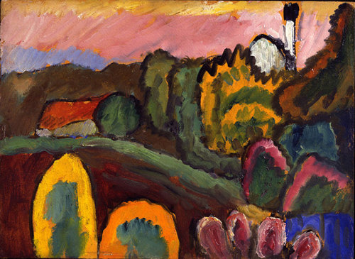 artislovely:  nirvikalpa: Gabriele Münter (1887-1962), Landschaft mit kirche / Landscape with church, 1910, Oil on carton