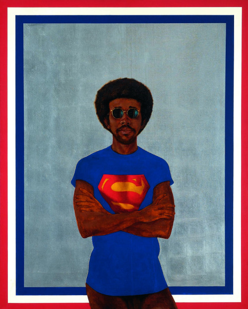 """Icon for My Man Superman (Superman never saved any black people – Bobby Seale)"" Painting, 1969 Barkley L. Hendricks"