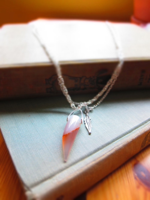 Peachy Glass Tusk + Feather + Double Chain