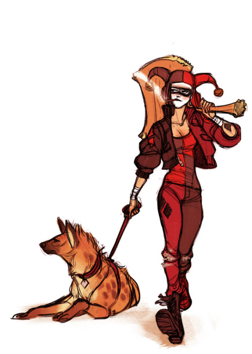 repair-her-armor:  shoomlah:  I hate Harley's new design for the DC reboot- much like the rest of the internet- so I took a quick pass at doing a modernized Harley that doesn't immediately show off too much skin.  And doesn't put an acrobatic character in a corset, because that makes a ton of sense. I think I'd be pretty happy if I owned a leather aviator cap with Harley-points.  Another reblog of Shoomlah's redesigns! Submitted by spinnywizards: Original design:   I'm loving this Harley Quinn redesign! It's a cool take on the costume, but it's also a great example of just how much character you can express through body language. You don't often see Harley with that kind of smoldering confidence (usually her confidence is paired with bounciness or hyperactivity), but I'm loving it. That bottom picture just has to be a joke, though. Right? …right? …oh, c'mon. This is why we can't have nice things, DC.
