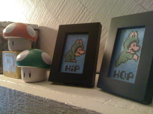 "This is my second cross stitch project! ""Hip & Hop"" Frog Suit Mario! It's from a pattern over at Sprite Stitch. Fairly simple but I thought it was cuter that way!"
