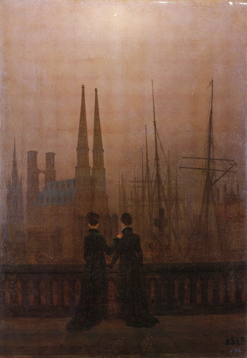 liquidnight:  Caspar David Friedrich Die Schwestern auf dem Söller am Hafen (Nächtlicher Hafen) Sisters on the Harbour-View Terrace (Harbour by Night) Oil on canvas, circa 1820 From The Romantic Vision of Caspar David Friedrich