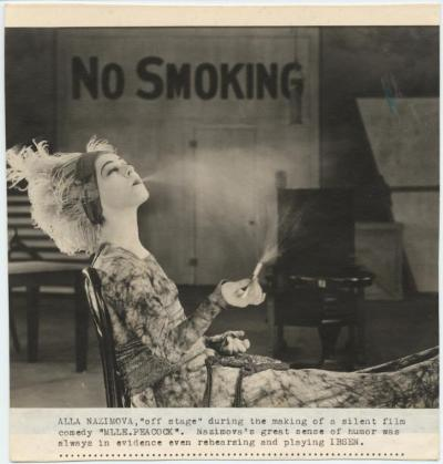 "turnofthecentury:  Alla Nazimova ""off stage"" during the making of a silent film ""Madame Peacock"" - c. 1920"
