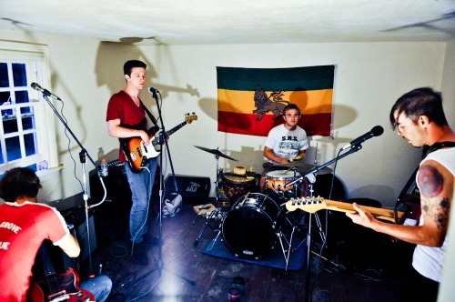 New Philly band Row Homes in the early stages of recording their first EP on a farm in Media, PA.